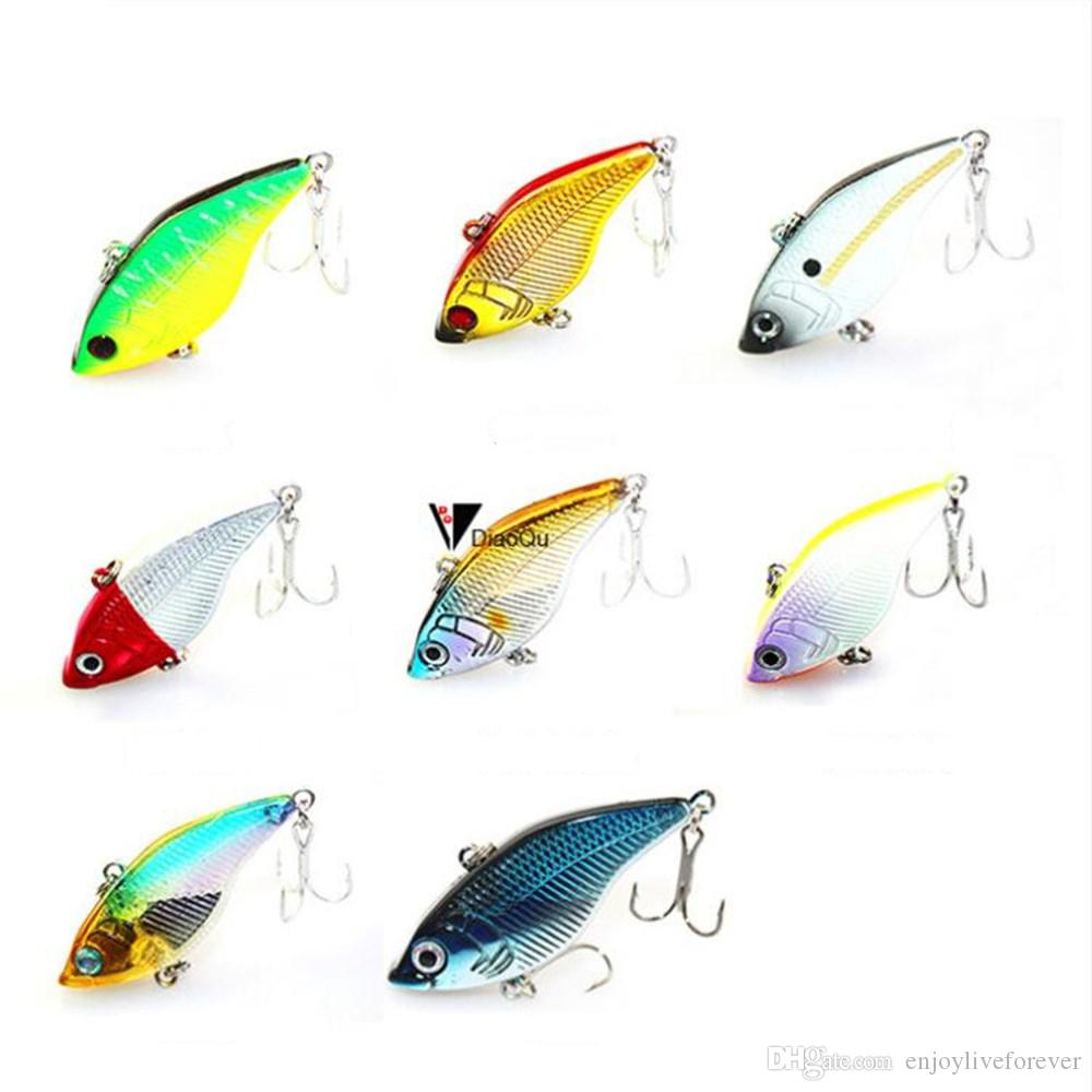 8PCS/Lot Full Swimming Layer Fishing Lure 5cm 14.5GR Vibration Fake Baits Lifelike Hard Lure with Double Treble Hook for Freshwater