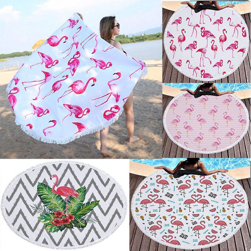 Круглый Фламинго пляжное полотенце Микрофибры Пляж Пикник Одеяло Йога Коврик 150 см Прикрыть Беременности Беременности Платок GGA229