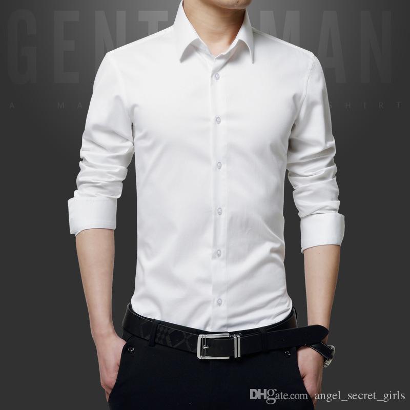 Meilleure vente de nouvelles affaires de mode casual Slim chemise à manches longues tendance hommes couleur unie chemise à revers