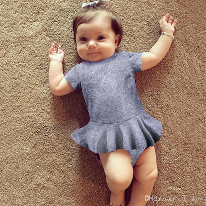 Neonata Neonata Vestito da principessa Pagliaccetti Vestiti estivi per bambini Bambini Pagliaccetti in cotone manica corta tute bambino 2 colori simpatici abiti per bambini