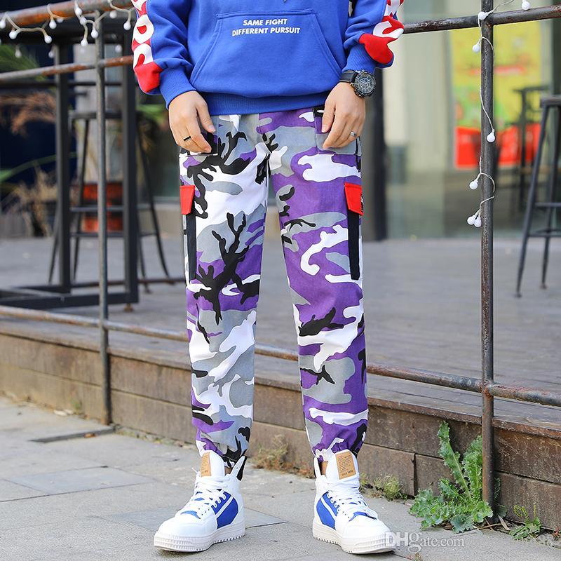 новые свободные Длинный Pant Мужских брюки-карго шаровар Мода Монтажна Днище улицы износ хип-хоп карманные брюки фиолетовыми (3)