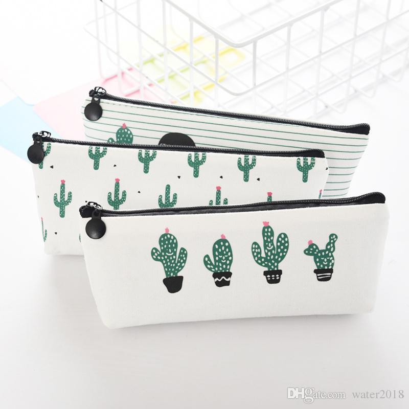 Creative Cactus Pencil Case Purse Canvas Portable Pen Money Wallet Stripe Zipper Pouch Pocket Keyring Gift Kawaii Pencil Bag