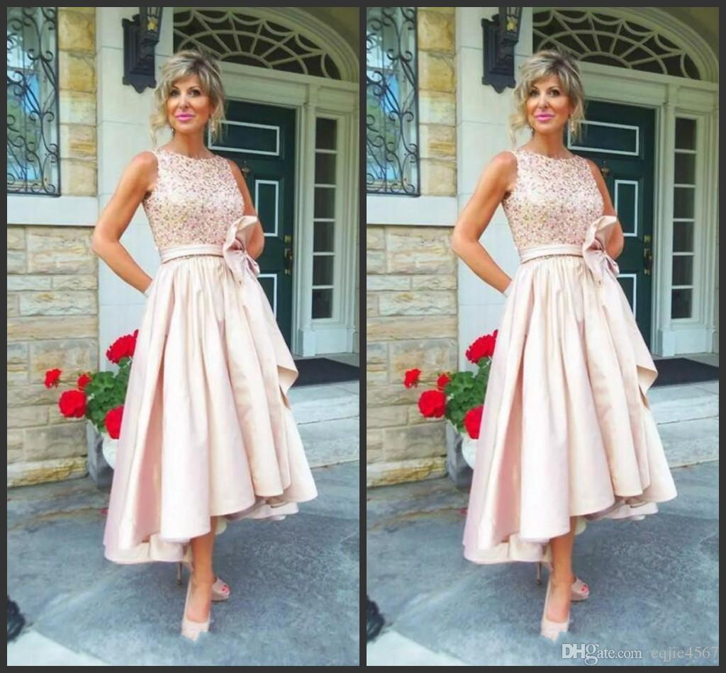 Discount 2019 New Jewel Draped Sequined Satin Tea Length Champagne Wedding Guest Dress Mother Dresses High Low Mother Of The Bride Dresses Wedding