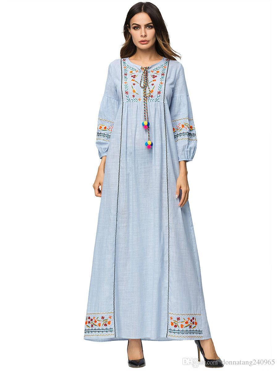 großhandel neue design casual maxi kleid stickerei abaya langarm lose robe  kleider vestidos muslim kimono nahen osten dubai islamische kleidung von