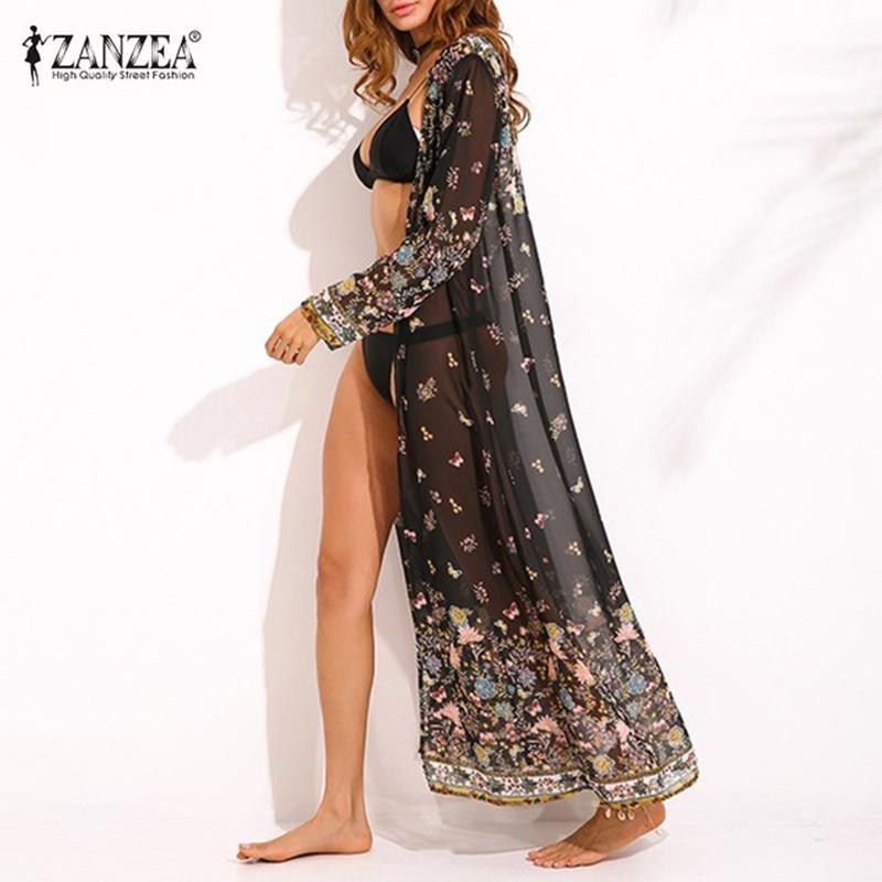 ZANZEA женщин шифон с длинным рукавом цветочный принт кимоно Boho дамы летний пляж прикрытия Макси длинные топы куртка кардиганы 2018 S18101102