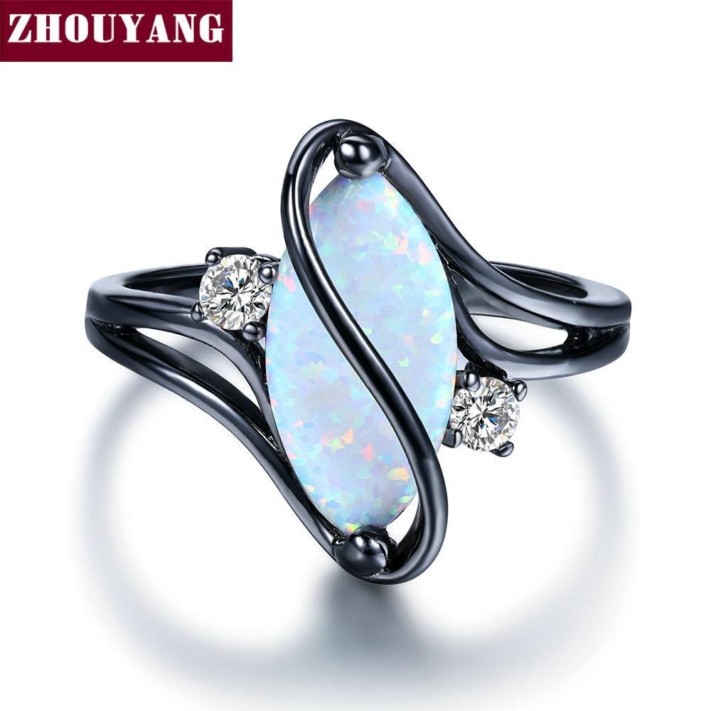 ZHOUYANG 타원형 오팔 스톤 블랙 골드 컬러 링 패션 주얼리 여자와 남자 파티 선물 도매 ZYR642