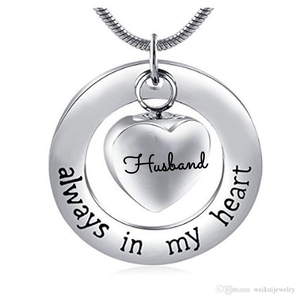 Fashion jewelry necklace with stainless steel can open the ring of the ring heart husband cremate jewelry bottle gray pendant necklace.
