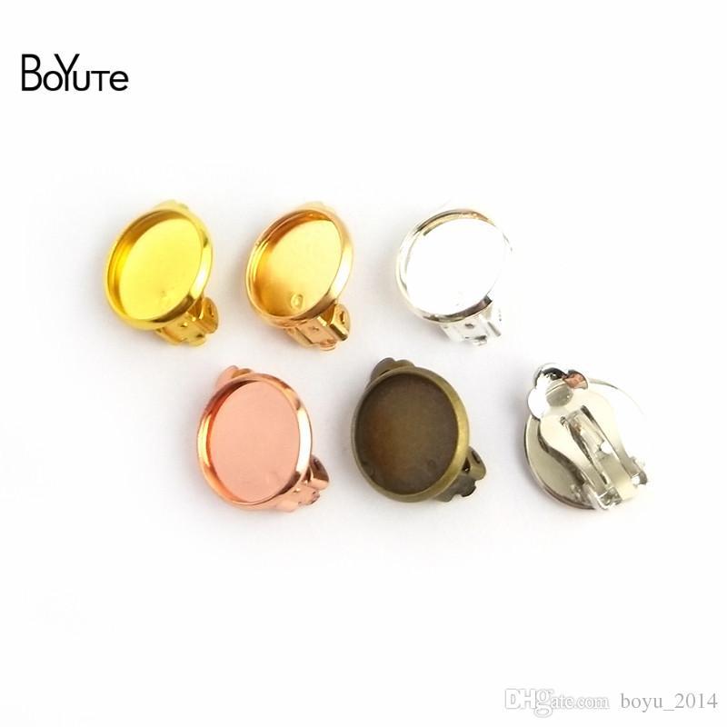 BoYuTe 50Pcs 7 Colors Plated No Pierced Ear Clip Earrings Blanks 10-12-14-16-18MM Cabochon Base Diy Jewelry Accessories