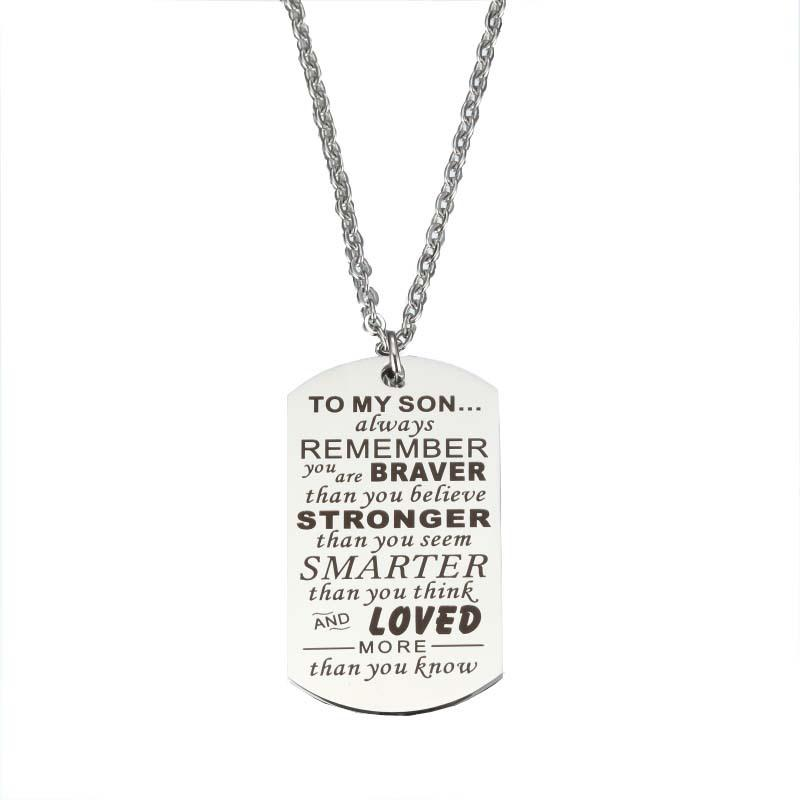 To My Son Daughter I Want You To Believe Love Dad Mom Dog Tag Necklace