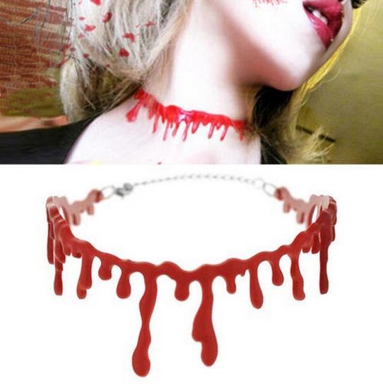 Bloody Choker Rred Necklace Halloween Creative Bloody Bloodstain Necklace Red Simulated Neck for Women Hot Sale