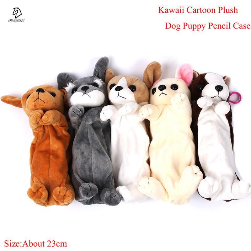 Venta caliente de Dibujos Animados de Felpa Caja de Lápices Kawaii Plush Dog Puppy School suministros de oficina Bolsas de Lápiz Para Niños Papelería caja de Lápices