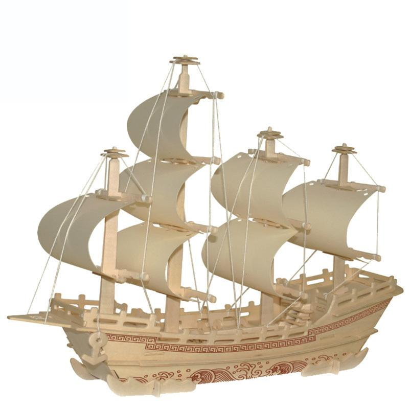 New Wooden 3D Puzzle DIY Assembly Model Ship For Kids Educational Toys  Assembled Products Size 40*10*35cm Factory Cost Order Or More Model Ship
