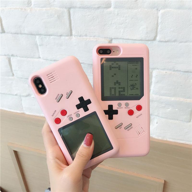 تتريس فتاة لعبة آلة حالة الهاتف لآيفون 6 6S 7 زائد X الهاتف المحمول PC الإلكترونية قشرة صلبة حماية جاهزة الغطاء الخلفي