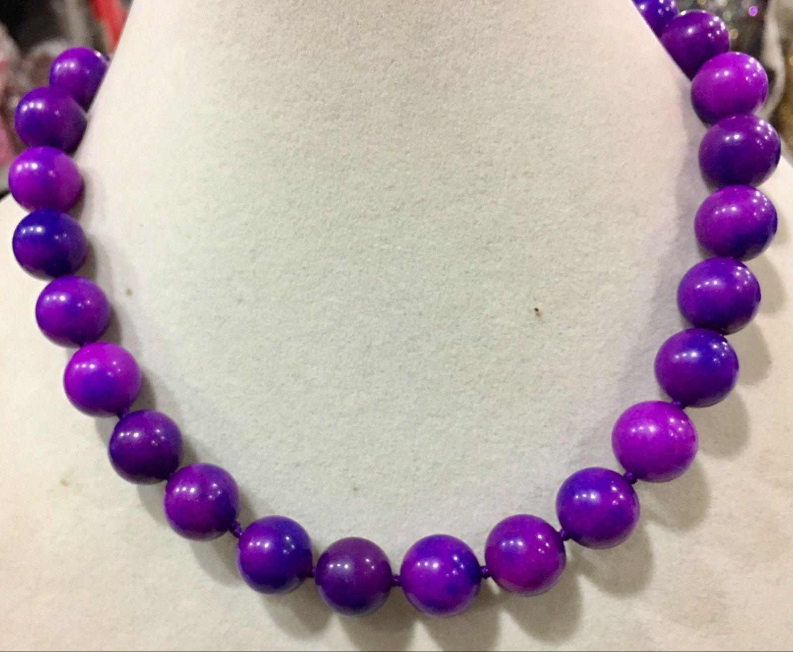 Huge 12mm natural Purple Sugilite Gemstone Round Beads Necklace 18''