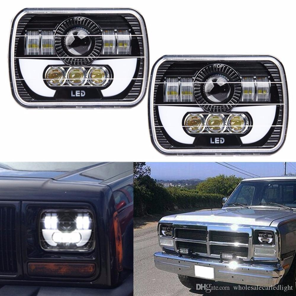 "Black Projector 7x6 LED Headlight HID Light Bulbs Beam Headlamp DRL for Jeep Cherokee XJ Truck 7x6 5x7"" 120w LED Headlights"
