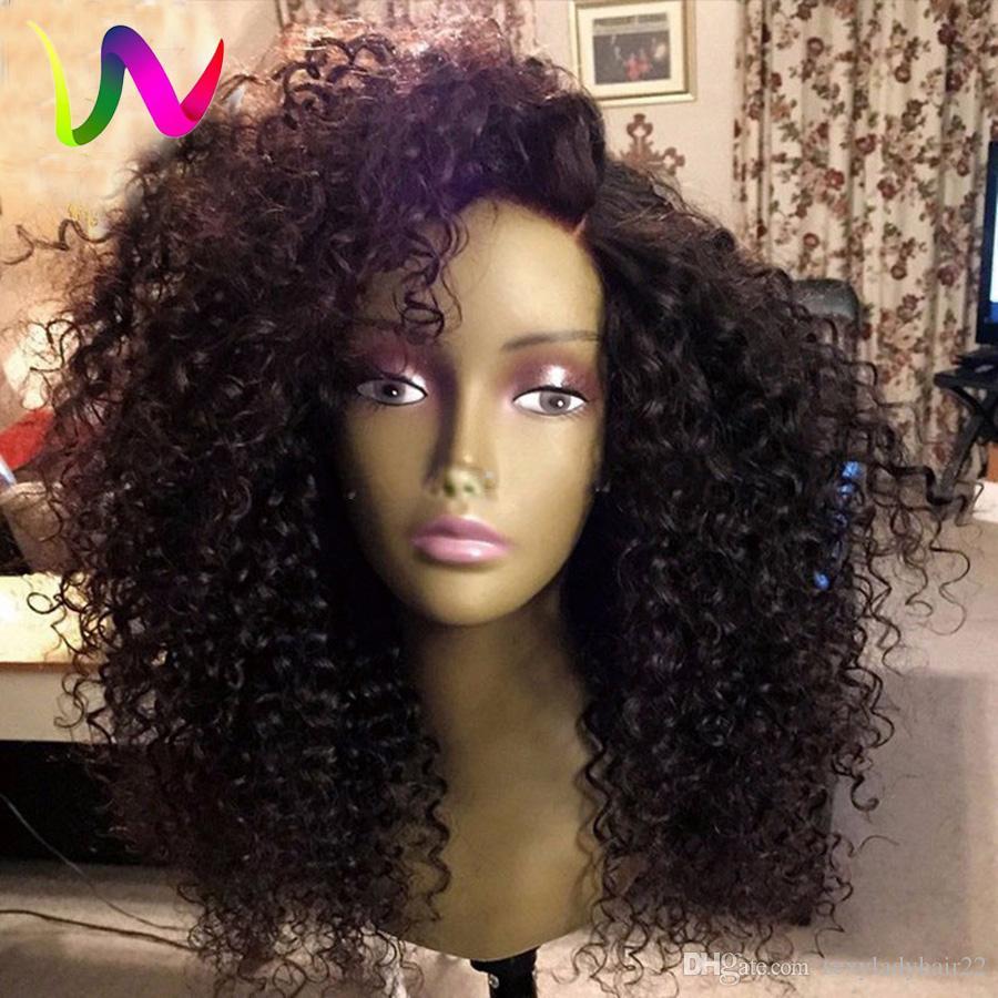 180density полная сторона часть афро черный парик кудрявый вьющиеся синтетические кружева фронт парик с волосами младенца жаропрочных волос для афро-американских парик