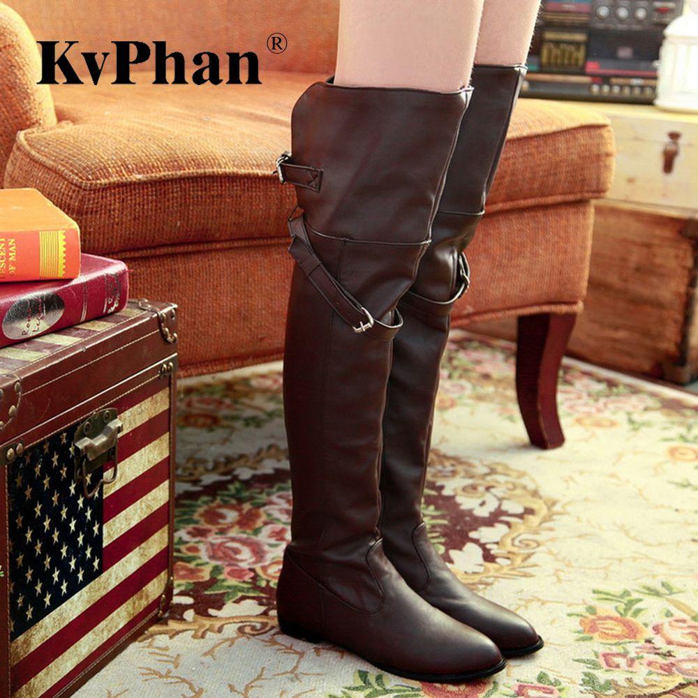 KvPhan Мягкая кожаная пряжка выше колена Черная зимняя обувь Женщина ПУ Кожа Низкие каблуки Повседневные ботинки для леди Слипоны Твердые ботинки