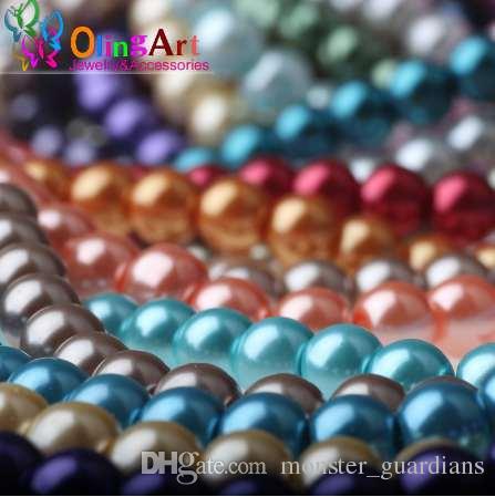 OlingArt 6MM 100PCS vetro imitazione perle perline braccialetto fai da te orecchini tallone choker collana creazione di gioielli misti multicolor