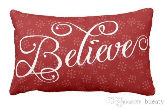 Believe in Christmas Holiday Snowflake Pillow Can be customized to map satin pillow home decoration