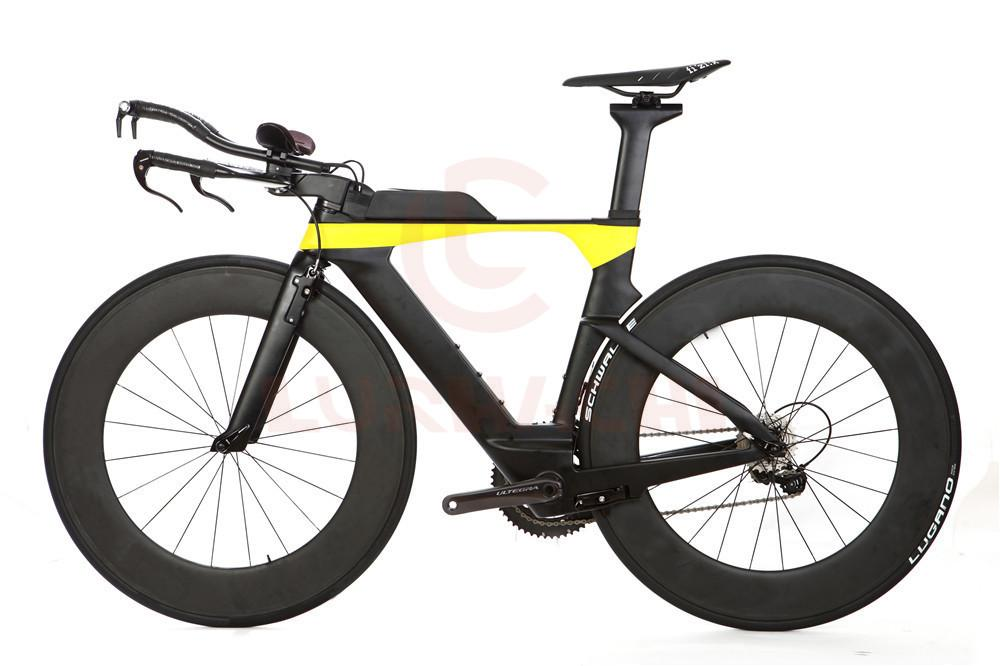 LURHACHI TT Complete Carbon Bike Time Triathlon TT Bicycle Carbon Frame+88mm Carbon Wheels+Carbon Handlebar+R8000 Groupset+Saddle