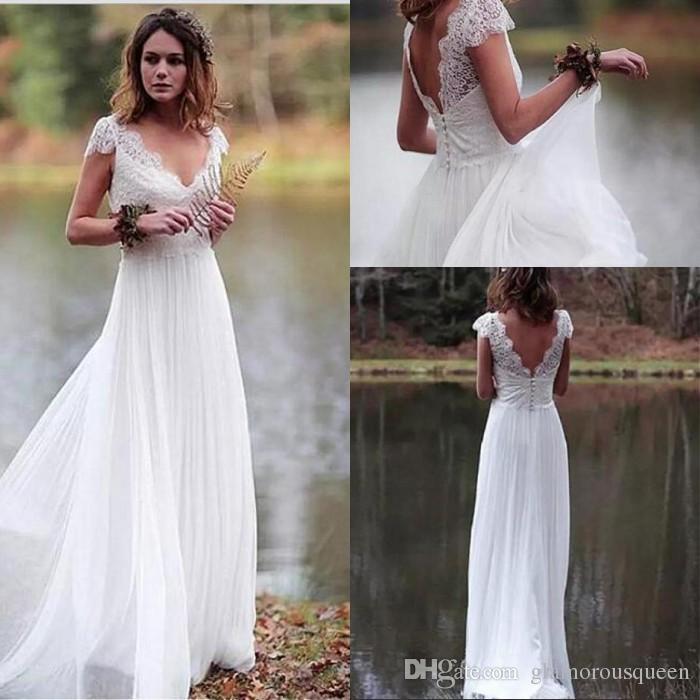 V-образный вырез Бич Свадебные платья Sheer Cap рукава тюль юбка Простой Онлайн Свадебные платья Backless Country Garden Vestidos De mariée
