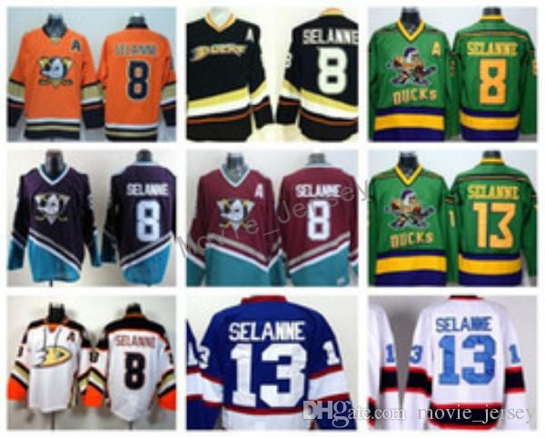 Anaheim Ducks 8 Teemu Selanne Jerseys Ice Hockey Stadium Series Vinatge Fashion Team Color Black White Red Green Orange Purple