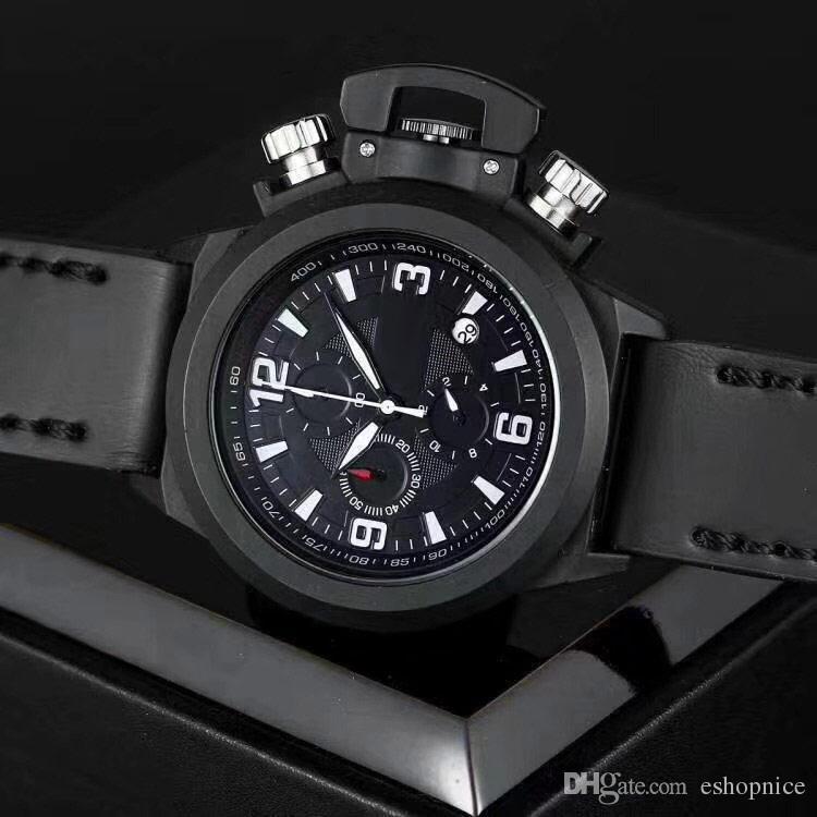 Спортивные мужские часы класса люкс с кожаным ремешком и маленькими циферблатами, работающими в автоматическом режиме. Модные мужские наручные часы для мужчин.