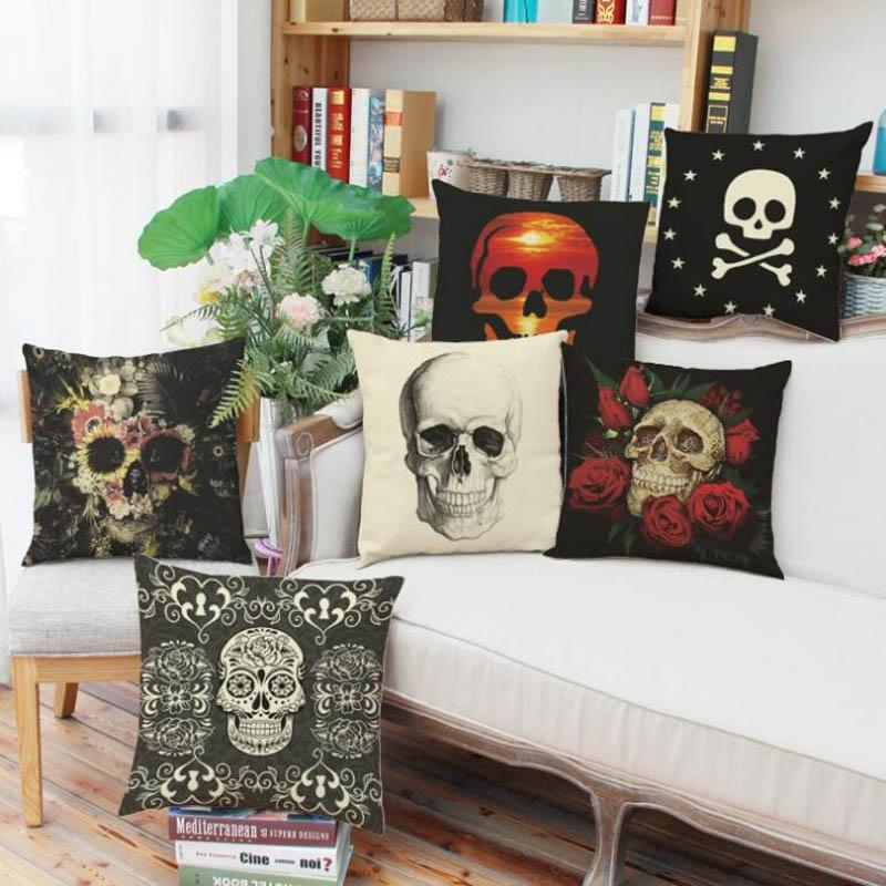 Cushion Cover Funny Horror Painted Cover Hallowen Festival Skull Printed Sofa Pillow Cushion Case Fadeless Black MJ001