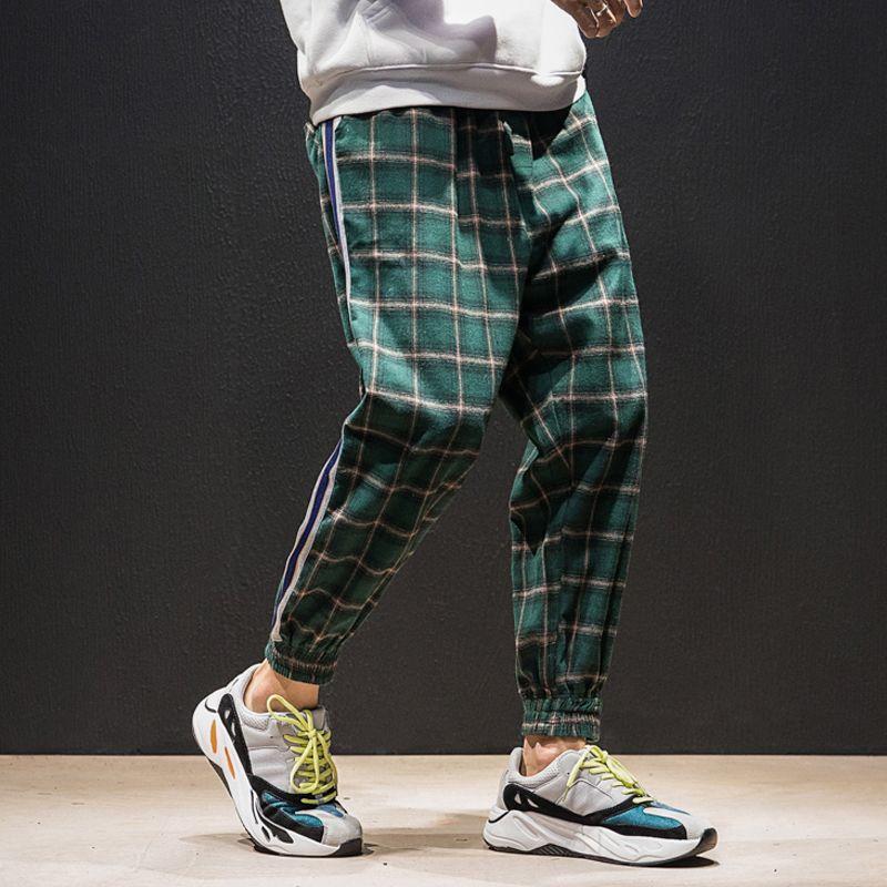 4 Цвета Мужчины Уличная одежда Хип-хоп Повседневная клетчатка Брюки Мужской Женщины Мода Свободные Гарм Брюки Пара Брюки Джоггер Спальные штаны