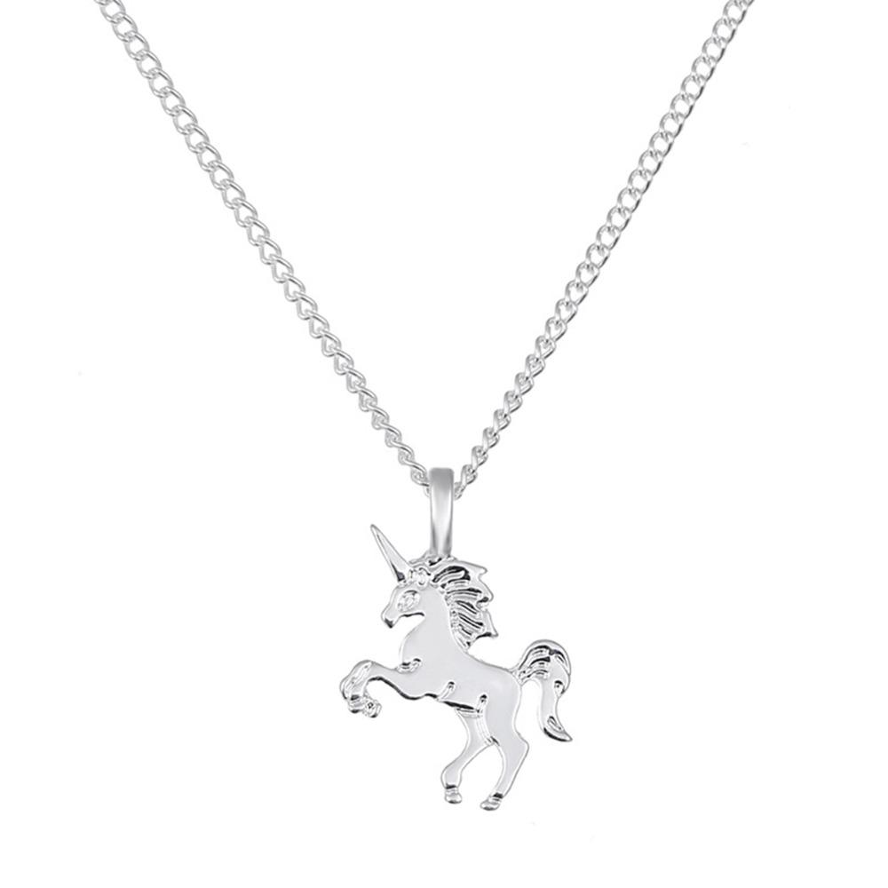 1 stück Kreative Einhorn Pferd Legierung Schlüsselbein Kette Gold / Silber Für Schmuck Zubehör Halsketten Anhänger Anhänger Halsketten