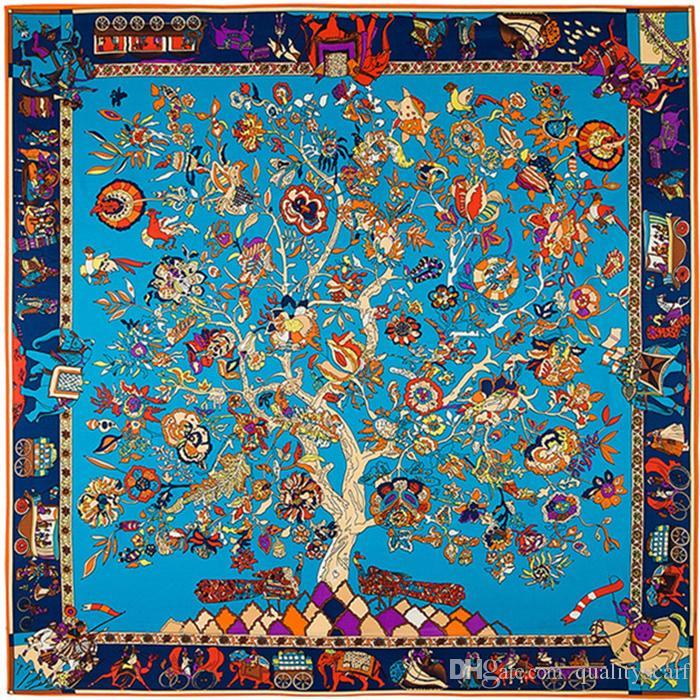 Площадь дерева Цветочные печати Шарф Женщины Большие шали Платки Femme Синий Большой Twill шелковые Шарфы 130 * 130см