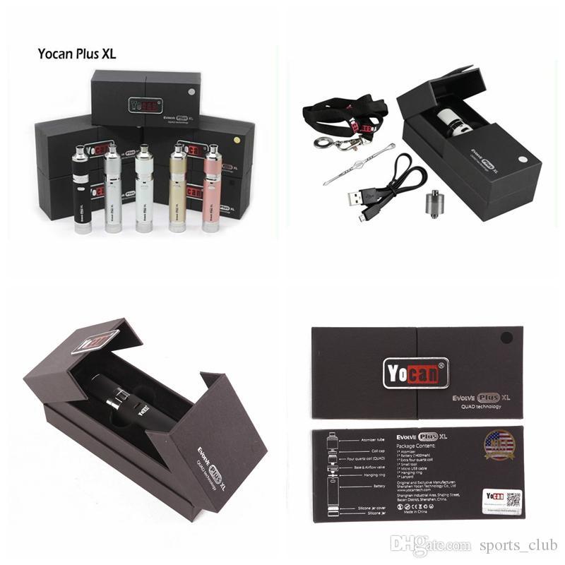 Yocan evoluir plus xl e cigarro haste de quartzo bobina 1400 mah bateria com caixa de varejo vaporizador de cera vaporizador e cig vape kits