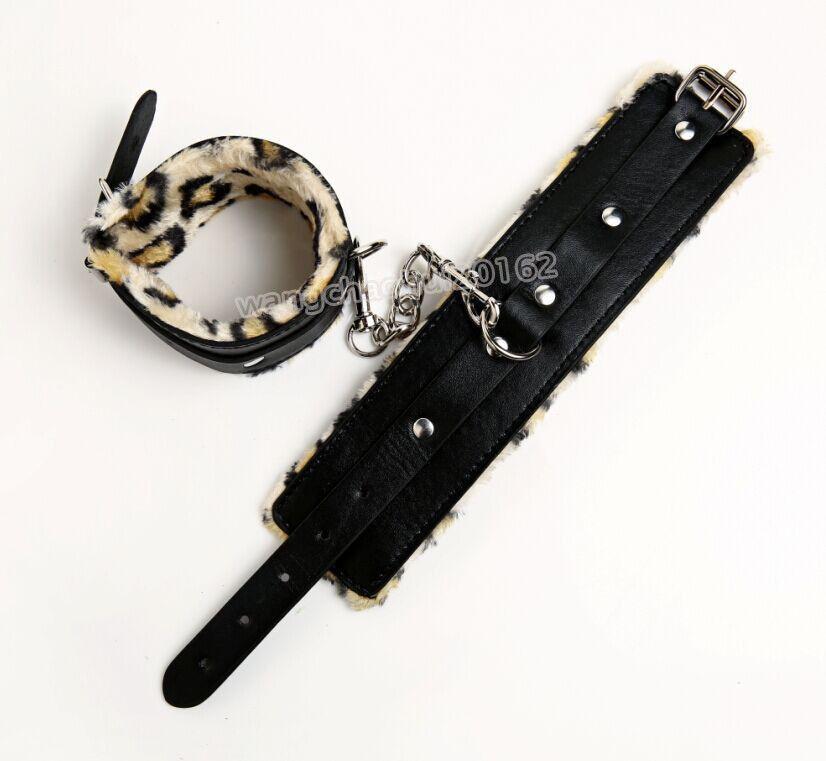 7шт леопардовая кожа наручники воротник Anklecuffs веревка трость кляп игрушка сдержанность набор R#76