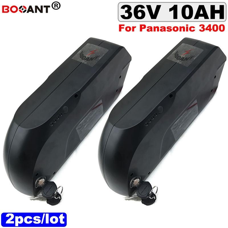 2pcs / lot 36V 10AH E-bike Lithium ion batterie pour Bafang BBSHD 350W 500W Moteur électrique batterie de vélo 18650 10S 36V + 2A chargeur
