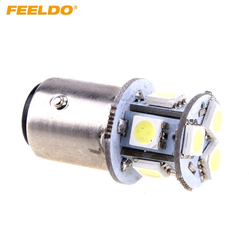 FEELDO 10 STÜCKE Reinweiß 12 V 1157 BAY15D 5050 Chip 8SMD Auto Backup Nebel Signal Schwanz Hinten LED-Licht # 1688