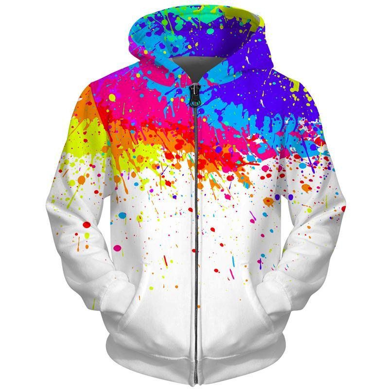 Cloudstyle para hombre sudaderas con capucha de la cremallera de impresión en 3D tinte de pintura con capucha divertida del suéter con capucha de Harajuku masculino de la cremallera blanca chándal