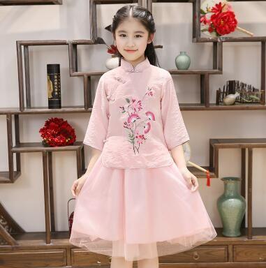 2018 yeni stil çocuk Cosplay Antik kız öğrencileri Guzheng Kostüm Dans Yapışık giysiler kısa tarzı