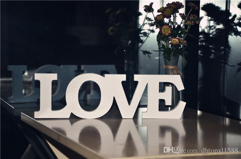 White Color ''LOVE '' Wooden Letters Wedding Decoration Home & Garden table sign wedding wooden decor Wooden Standing Letters Love Sign