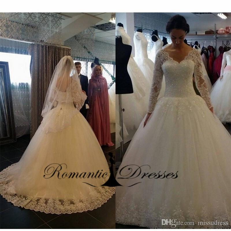 Vestidos De Novia 2016 V Neck Long Sleeved White Lace Appliques Ball Gown Wedding Dresses With Petticoat Bridal Gown