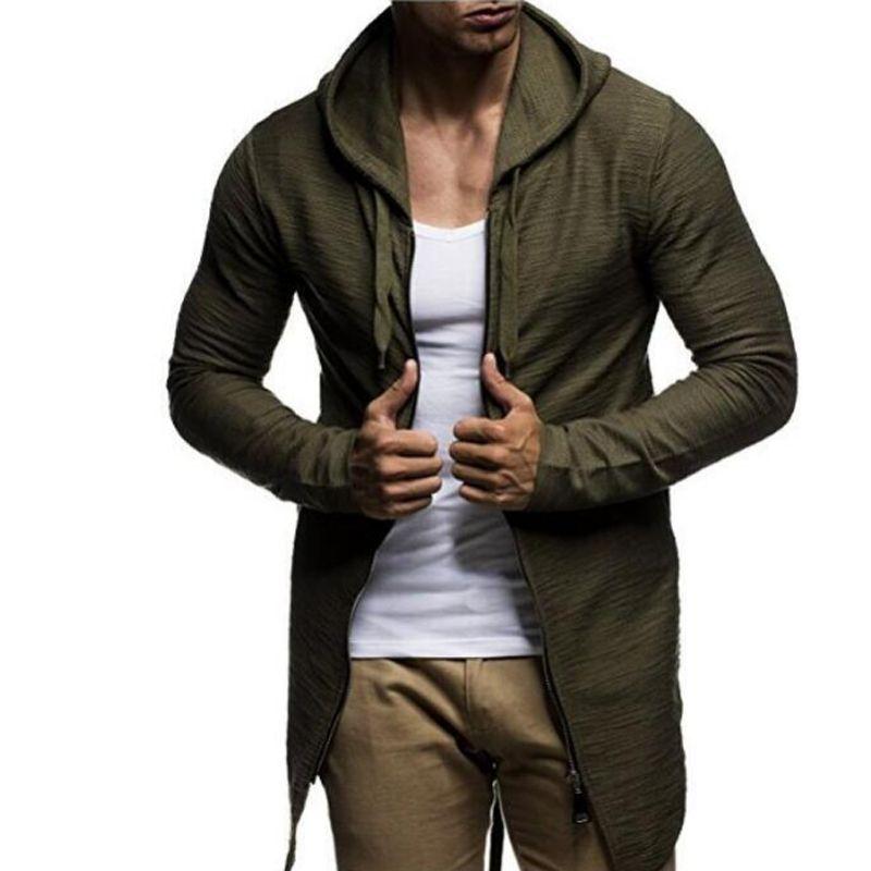 2018 New Arrival  Hoodies Men Male Long Section Hoodie Zipper Cardigan Sweatshirt Mens Moletom Masculino Hoodies Slim XXXL