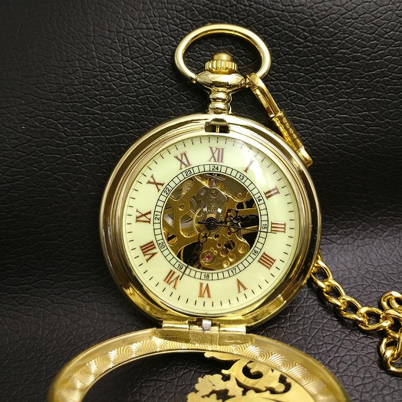 Gold Dragon Mechanical Pocket Watch Men Skeleton Steampunk Fob Watches Roman Man Father Gift New Vintage Retro Hand Wind