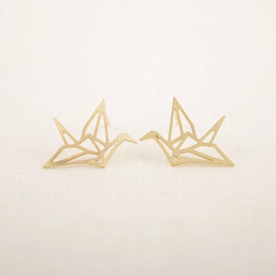 새로운 패션 여자를위한 야생 쥬얼리 야생 종이 접기 크레인 귀걸이 빈티지 귀여운 동물 새 스터드 귀걸이 Pendientes