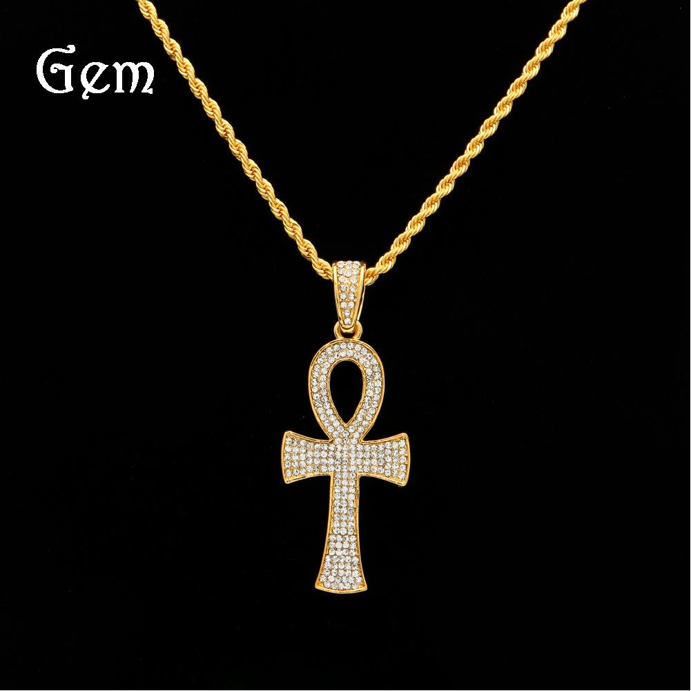 Popular Pendant Egypt Ankh Complete Crystal Internal Brick Hip-Hop Pendant Necklace