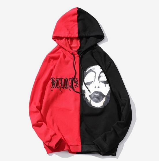 Men Hoodies 2018 Fashion Autumn Embroidery Hoodie Black Red Splice Sweatshirts Hip Hop Streetwear US Size XS-XXl