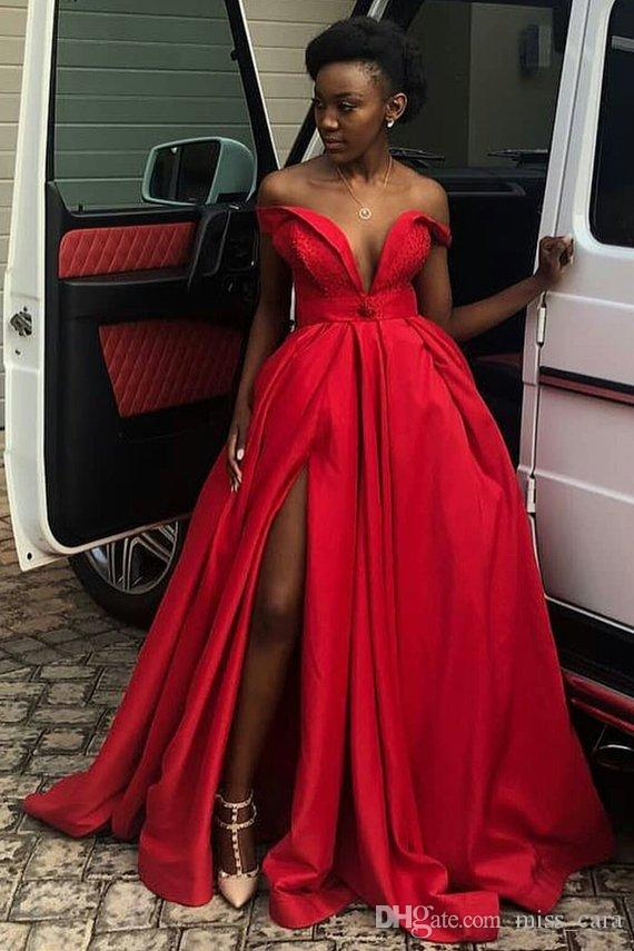 Off the Shoulder Red Prom Dresses For African Girl Satin Beaded Split Evening Dress Party Gowns Sweep Train