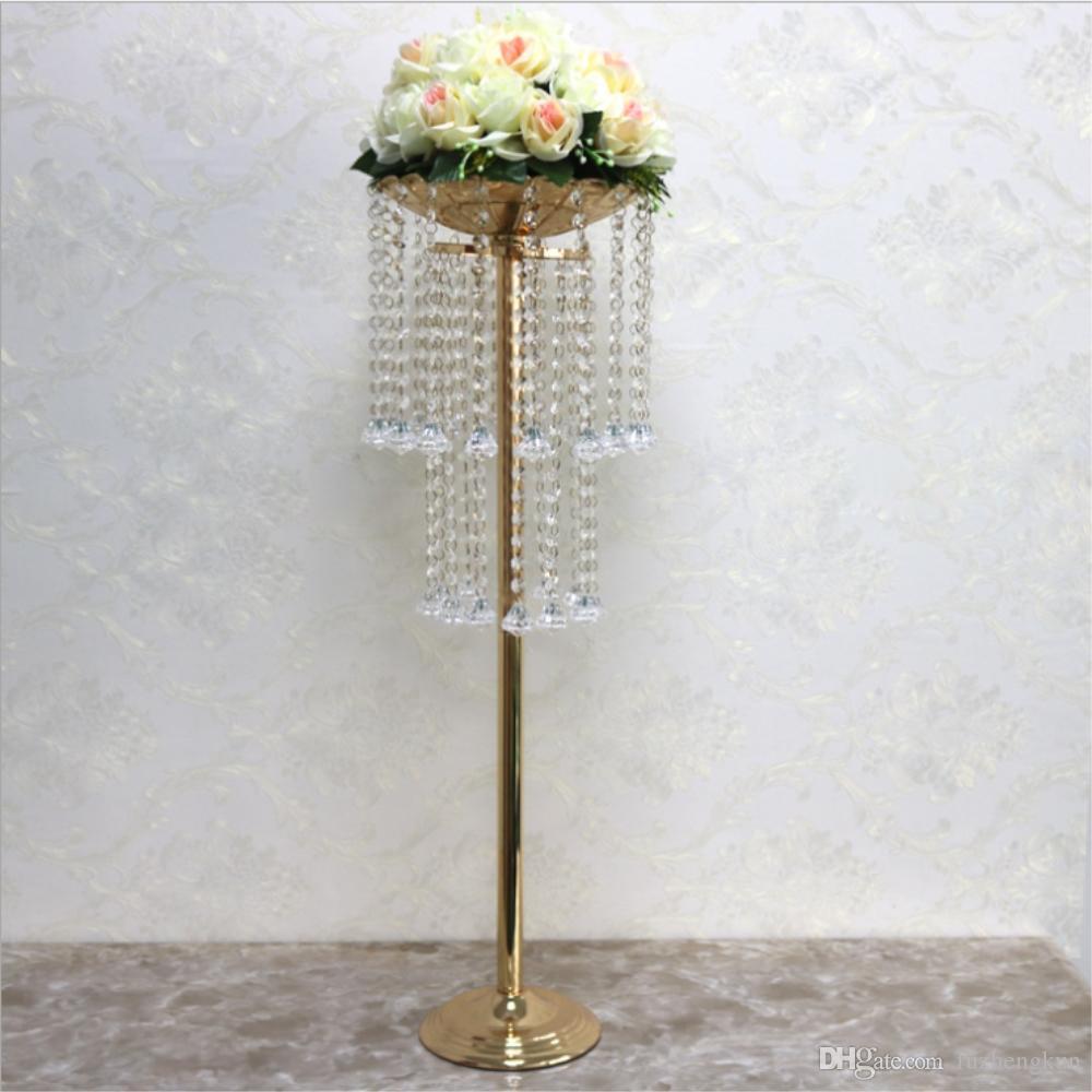 """Акриловая дорога ведущий кристалл свадьба центральным столом ваза для цветов подставка для бусин 32 """"высотой 10"""" диаметр ну вечеринку украшения дома"""
