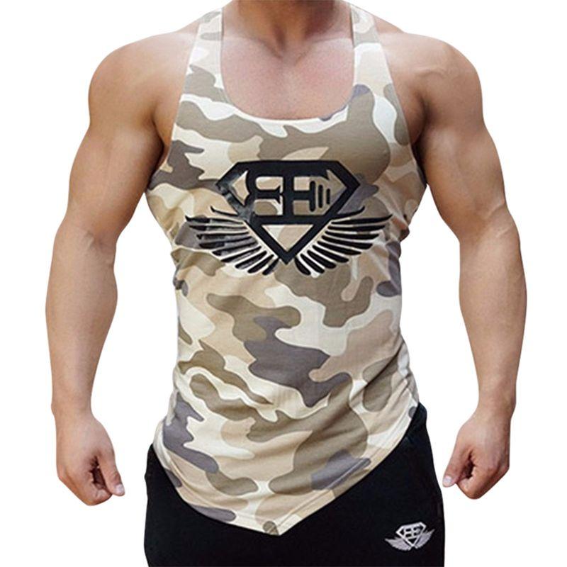 Hombres camiseta sin mangas Camuflaje camuflaje para hombre Culturismo Stringers Camisetas sin mangas Singlet Ropa deportiva Fitness Camisa sin mangas Entrenamiento