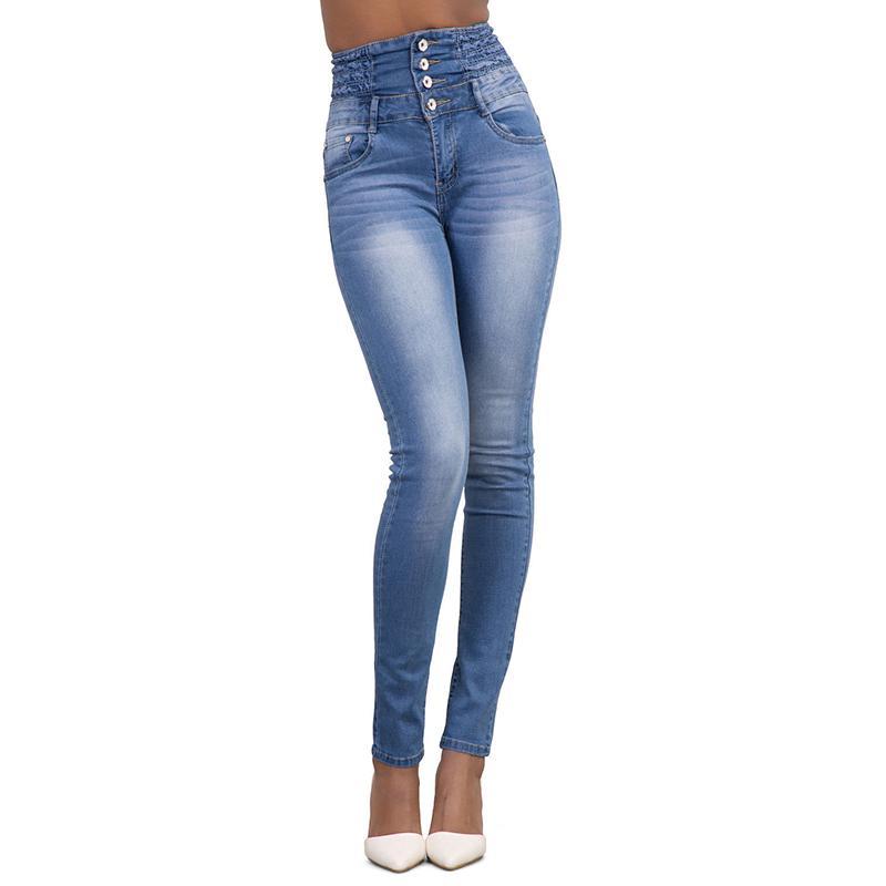 buscar autorización donde puedo comprar colores y llamativos Compre Zebery Button Cintura Alta Mujer Jeans Pies Lápiz Pantalones Mujer  Ropa De Alta Calidad Jeans Ropa Para Mujeres A $24.66 Del Cactuse | ...
