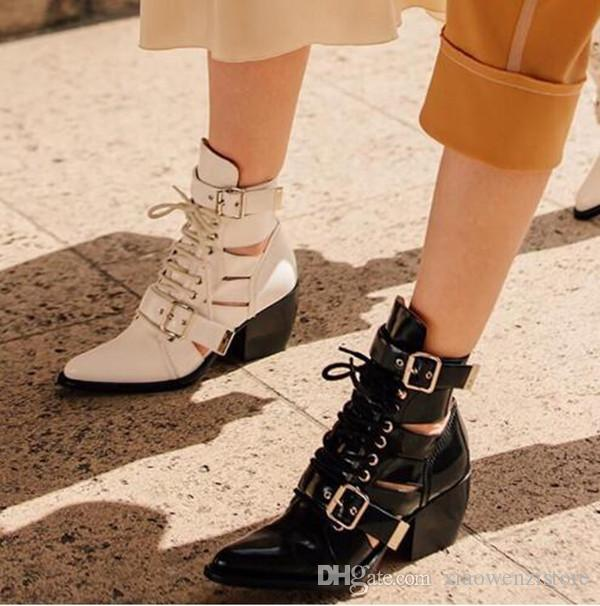 Ankle Boots Women strappy cut out Buckle Straps high Heels Lace Up Motorcycle martin Boots Chunky Heels Pointed Toe Shoes
