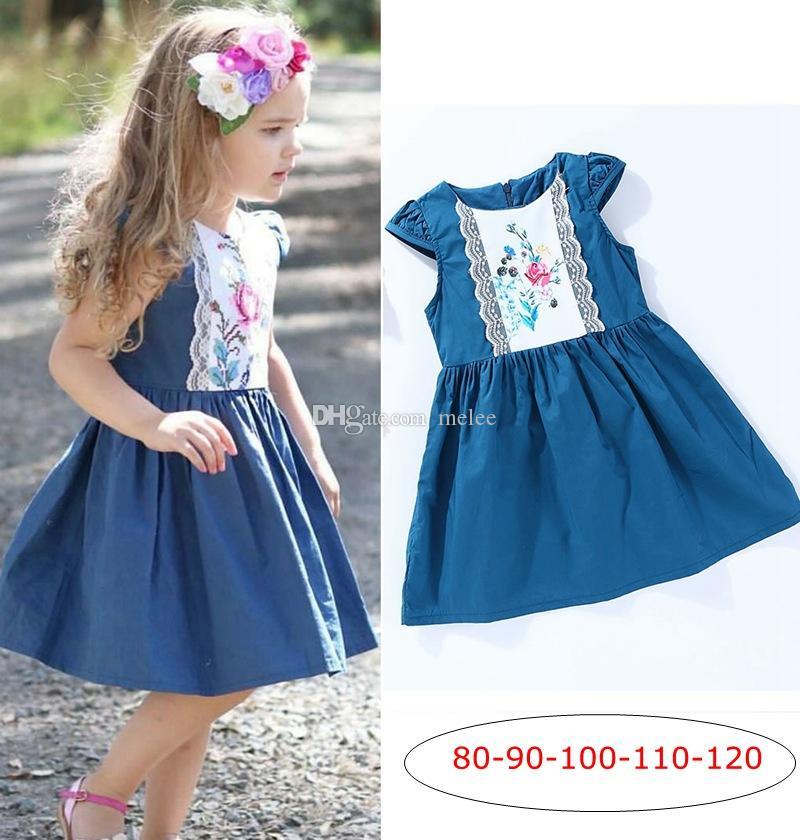 Ins nya sommarflickor spets blomma klänning denim väst tutu klänning flickor denim blå bomull prinsessa spets kjol barn klänningar